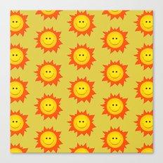 Happy Cartoon Sun Pattern Canvas Print