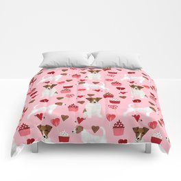Jack Russell Terrier valentines day cupcakes and hearts love pattern gifts for dog lovers Comforters