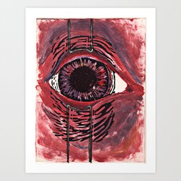 retracted eye (monoprint, linocut & handwork) Art Print