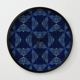 Indigo Blues Geometric Magic Quilt Print Wall Clock
