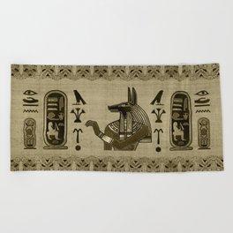 Egyptian Anubis Ornament Beach Towel