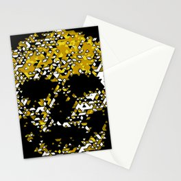 Geometric Mustard Yellow Skull Composed Of Triangles Stationery Cards
