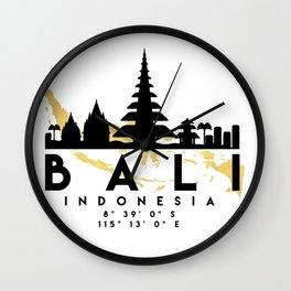 BALI INDONESIA SILHOUETTE SKYLINE MAP ART Wall Clock