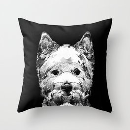 Black And White West Highland Terrier Dog Art Sharon Cummings Throw Pillow
