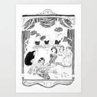 theatre Art Prints featuring theatre by mariana, a miserável(the miserable one)