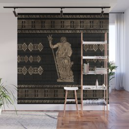 Poseidon and Greek Meander Ornament Wall Mural