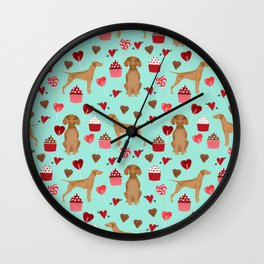 Vizsla valentines day dog breed gifts for dog lover unique dog pet portraits animal art Wall Clock