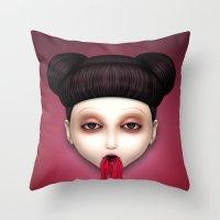 misfits Throw Pillows featuring Misfit - Sakura by Raymond Sepulveda