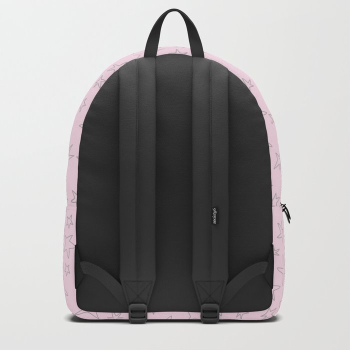 Grey handpainted little stars on pink background Backpack