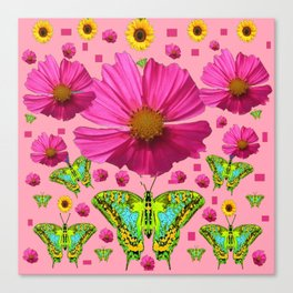 PINK COSMO FLORALS GREEN MOTHS SUNFLOWERS Canvas Print