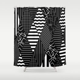 Black and White Diamond Collage Pattern Shower Curtain