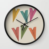 planes Wall Clocks featuring Paper Planes by coalotte