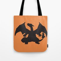 charizard Tote Bags featuring Charizard Silhouette by Jessica Wray