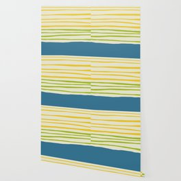 Playing with Strings - Line Art - Blue, Green, Yellow Wallpaper