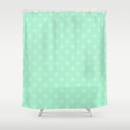 Cream Yellow on Magic Mint Green Snowflakes Shower Curtain