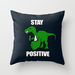 Stay Positive Iguanodon Throw Pillow