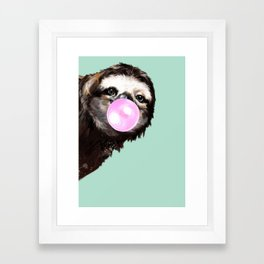 Bubble Gum Sneaky Sloth in Green Framed Art Print