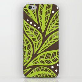 Floral tropical green leaves on brown background iPhone Skin