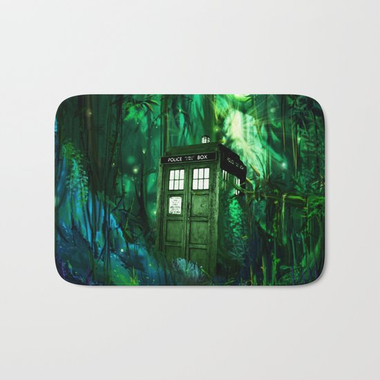 Tardis in the forest 2 Bath Mat