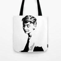 audrey hepburn Tote Bags featuring Audrey Hepburn by Geryes