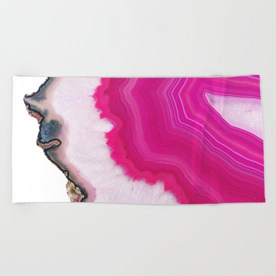 Pink Agate Slice Beach Towel