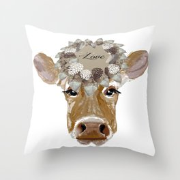 Cow with Love Hat Throw Pillow