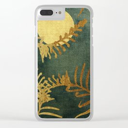Golden Cycas leaves on dark green canvas Clear iPhone Case