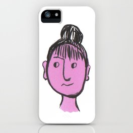 """Auntie Rosie"" woman with a bun iPhone Case"