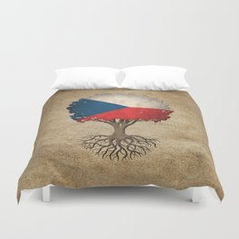 Vintage Tree of Life with Flag of Czech Republic Duvet Cover