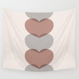 Hearts - Cocoa & Gray Wall Tapestry