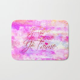 JE T'AIME French Typography Font I Love You Romantic Fine Art Pastel Pink Colorful Abstract Painting Bath Mat