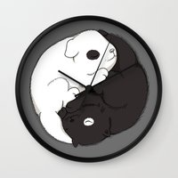 yin yang Wall Clocks featuring Yin & Yang by Lili Batista