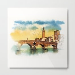 Bridge in Verona Metal Print