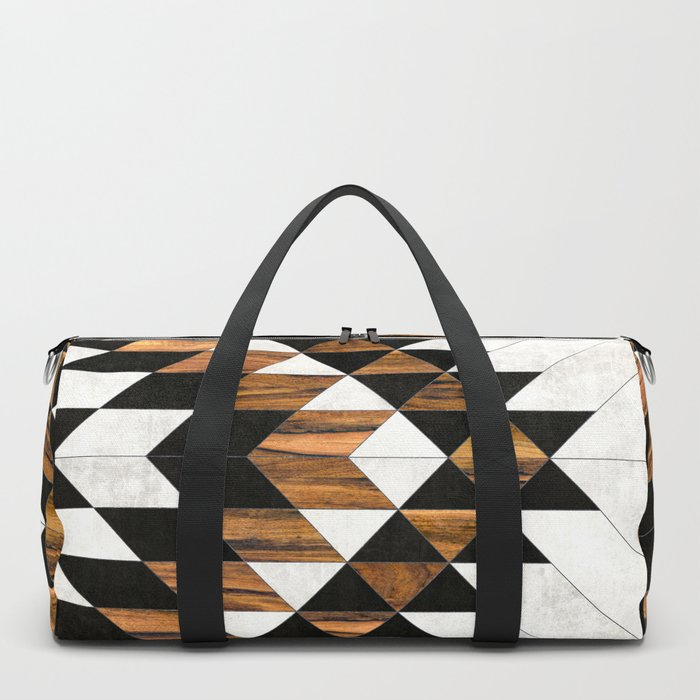 Urban Tribal Pattern 9 - Aztec - Concrete and Wood Duffle Bag