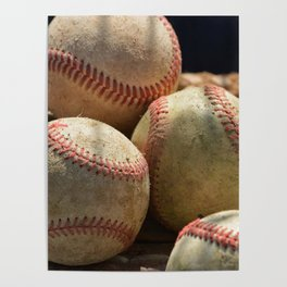 Baseballs and Glove Poster