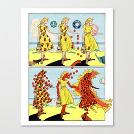 Red Bullets Dress Girl On Fire Canvas Print