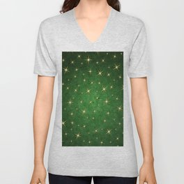 Christmas Starry Night Green Gold Design Pattern Unisex V-Neck