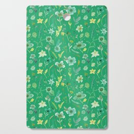 Verdant Flowers on Emerald Background Cutting Board