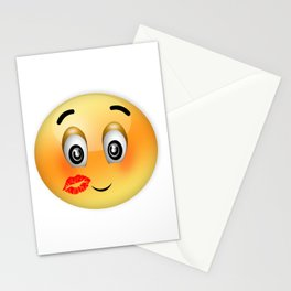 Emoticon with many kisses Stationery Cards