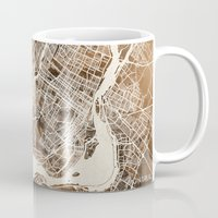 montreal Mugs featuring Montreal by Map Map Maps