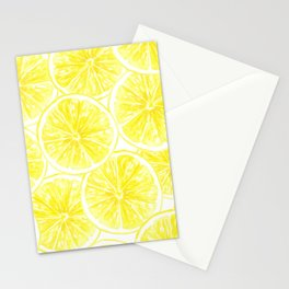 Lemon slices pattern watercolor Stationery Cards