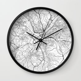 Pittsburgh Map White Wall Clock