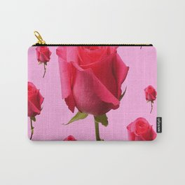 SCATTERED PINK ROSE BUD FLOWERS ON PINK Carry-All Pouch