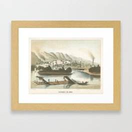 Vintage Pictorial View of Dubuque IA (1854) Framed Art Print