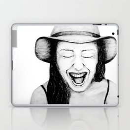 So Amused! Expressions of Happiness Series -Black and White Original Sketch Drawing, pencil/charcoal Laptop & iPad Skin