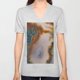 Translucent Teal & Rust Agate Unisex V-Neck