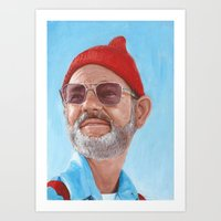 steve zissou Art Prints featuring Steve Zissou by BookOfFaces