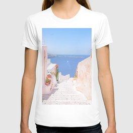 Santorini Greece Mamma Mia pink street travel photography T-shirt
