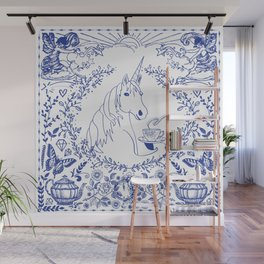 Blue Willow Tea Party Wall Mural