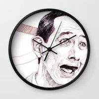 pee wee Wall Clocks featuring Pee Wee Herman by Aaron Bir by Aaron Bir